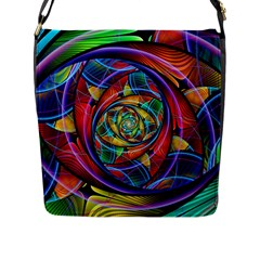 Eye Of The Rainbow Flap Messenger Bag (l)  by WolfepawFractals