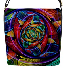 Eye Of The Rainbow Flap Messenger Bag (s) by WolfepawFractals
