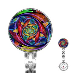 Eye Of The Rainbow Stainless Steel Nurses Watch by WolfepawFractals