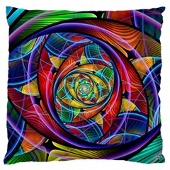 Eye Of The Rainbow Large Flano Cushion Case (one Side) by WolfepawFractals