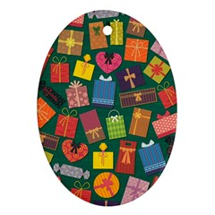 Presents Gifts Background Colorful Ornament (oval) by Nexatart