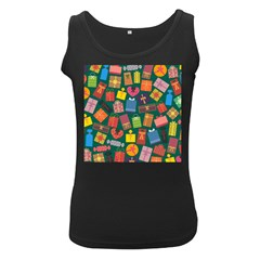 Presents Gifts Background Colorful Women s Black Tank Top