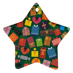 Presents Gifts Background Colorful Star Ornament (two Sides)