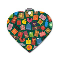 Presents Gifts Background Colorful Dog Tag Heart (one Side)