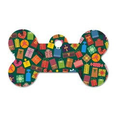 Presents Gifts Background Colorful Dog Tag Bone (one Side)