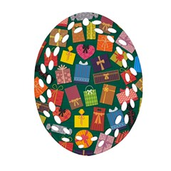 Presents Gifts Background Colorful Ornament (oval Filigree)