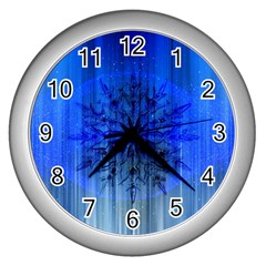 Background Christmas Star Wall Clocks (silver)  by Nexatart