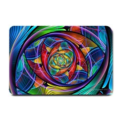 Eye Of The Rainbow Small Doormat  by WolfepawFractals