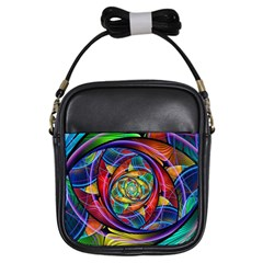 Eye Of The Rainbow Girls Sling Bags by WolfepawFractals