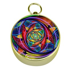 Eye Of The Rainbow Gold Compasses by WolfepawFractals