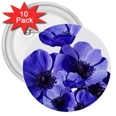 Poppy Blossom Bloom Summer 3  Buttons (10 Pack)