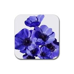 Poppy Blossom Bloom Summer Rubber Square Coaster (4 Pack)  by Nexatart