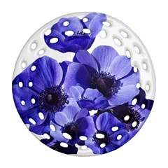 Poppy Blossom Bloom Summer Round Filigree Ornament (two Sides)
