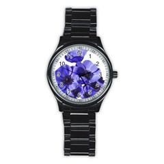 Poppy Blossom Bloom Summer Stainless Steel Round Watch