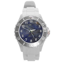 Textures Sea Blue Water Ocean Round Plastic Sport Watch (l)