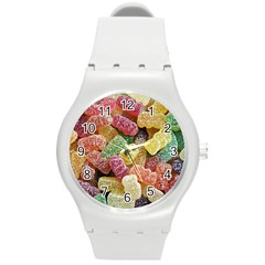 Jelly Beans Candy Sour Sweet Round Plastic Sport Watch (m) by Nexatart