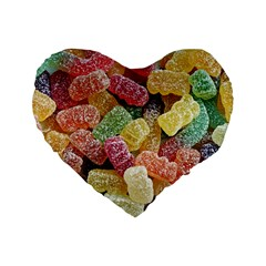 Jelly Beans Candy Sour Sweet Standard 16  Premium Flano Heart Shape Cushions