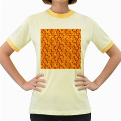 Honeycomb Pattern Honey Background Women s Fitted Ringer T Shirts
