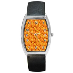 Honeycomb Pattern Honey Background Barrel Style Metal Watch by Nexatart