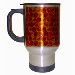 Honeycomb Pattern Honey Background Travel Mug (silver Gray) by Nexatart