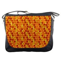 Honeycomb Pattern Honey Background Messenger Bags