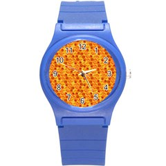 Honeycomb Pattern Honey Background Round Plastic Sport Watch (s) by Nexatart