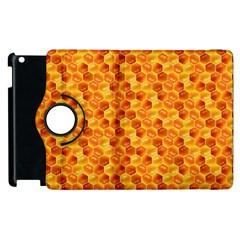 Honeycomb Pattern Honey Background Apple Ipad 2 Flip 360 Case by Nexatart