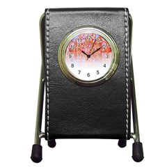 Effect Isolated Graphic Pen Holder Desk Clocks by Nexatart