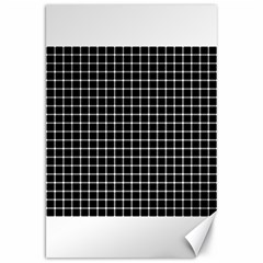 Black and white optical illusion dots and lines Canvas 20  x 30