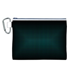 Optical Illusion Grid in Black and Neon Green Canvas Cosmetic Bag (L)