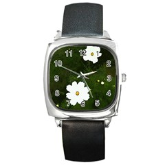 Daisies In Green Square Metal Watch by DeneWestUK