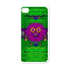 Summer Flower Girl With Pandas Dancing In The Green Apple Iphone 4 Case (white) by pepitasart
