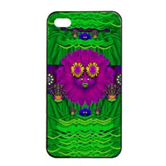 Summer Flower Girl With Pandas Dancing In The Green Apple Iphone 4/4s Seamless Case (black) by pepitasart