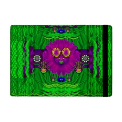 Summer Flower Girl With Pandas Dancing In The Green Apple Ipad Mini Flip Case by pepitasart