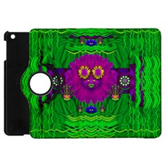 Summer Flower Girl With Pandas Dancing In The Green Apple Ipad Mini Flip 360 Case by pepitasart
