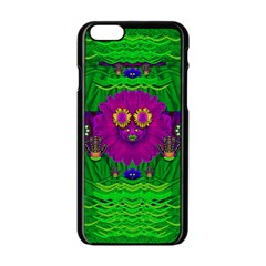 Summer Flower Girl With Pandas Dancing In The Green Apple Iphone 6/6s Black Enamel Case by pepitasart