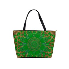 Summer Landscape In Green And Gold Shoulder Handbags by pepitasart
