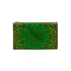 Summer Landscape In Green And Gold Cosmetic Bag (small)  by pepitasart