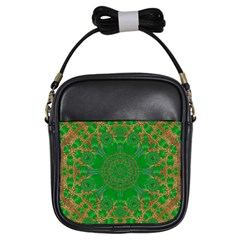 Summer Landscape In Green And Gold Girls Sling Bags by pepitasart