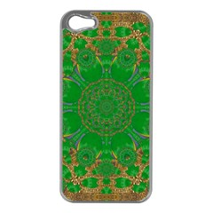 Summer Landscape In Green And Gold Apple Iphone 5 Case (silver) by pepitasart