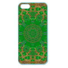 Summer Landscape In Green And Gold Apple Seamless Iphone 5 Case (color) by pepitasart