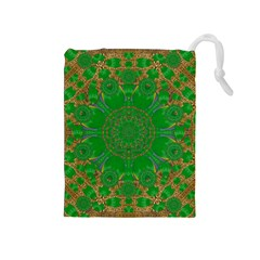 Summer Landscape In Green And Gold Drawstring Pouches (medium)  by pepitasart