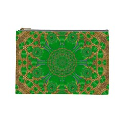 Summer Landscape In Green And Gold Cosmetic Bag (large)  by pepitasart
