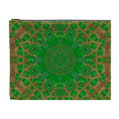 Summer Landscape In Green And Gold Cosmetic Bag (xl) by pepitasart