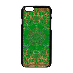 Summer Landscape In Green And Gold Apple Iphone 6/6s Black Enamel Case by pepitasart