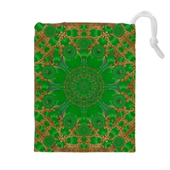 Summer Landscape In Green And Gold Drawstring Pouches (extra Large) by pepitasart