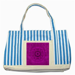 Purple Mandala Fashion Striped Blue Tote Bag by pepitasart