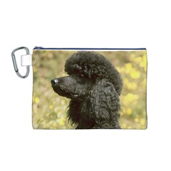 Poodle Black Canvas Cosmetic Bag (M)