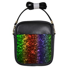 Multi Color Magical Unicorn Rainbow Shimmering Mother of Pearl Girls Sling Bags by PodArtist