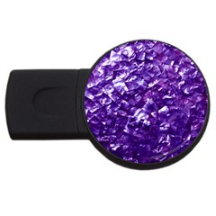Natural Shimmering Purple Amethyst Mother of Pearl Nacre USB Flash Drive Round (1 GB) by PodArtist